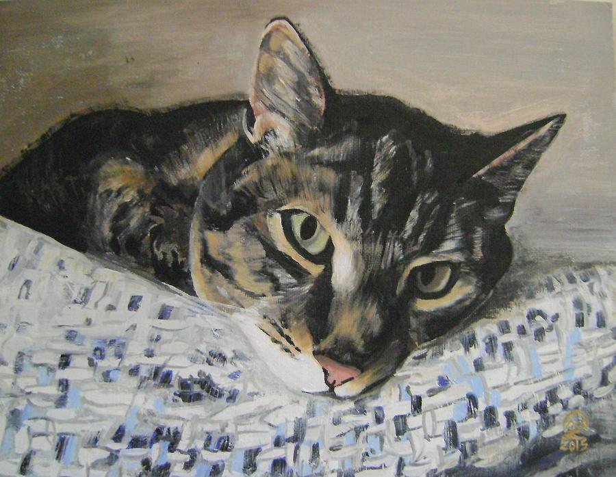 Tabby Cat Painting - Tequila by Therese Legere