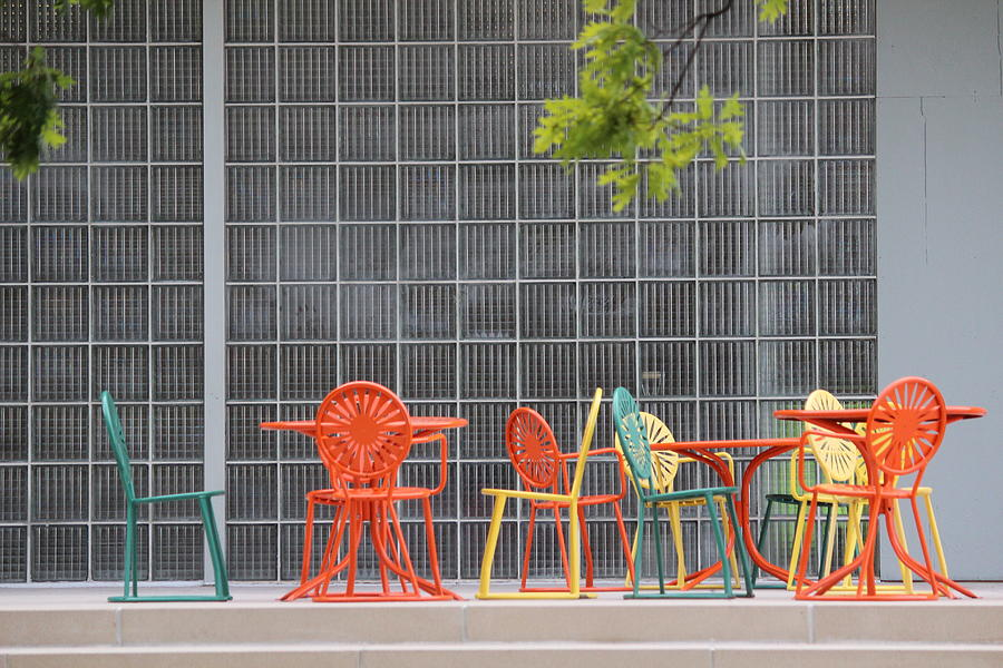 University Of Wisconsin Photograph - Terrace Chairs And Tables by Callen Harty