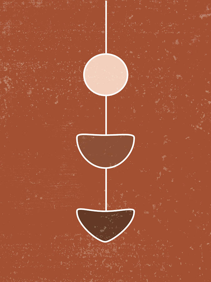 Terracotta Abstract 24 - Modern, Contemporary Art - Abstract Organic Shapes - Brown - Pendulum Mixed Media