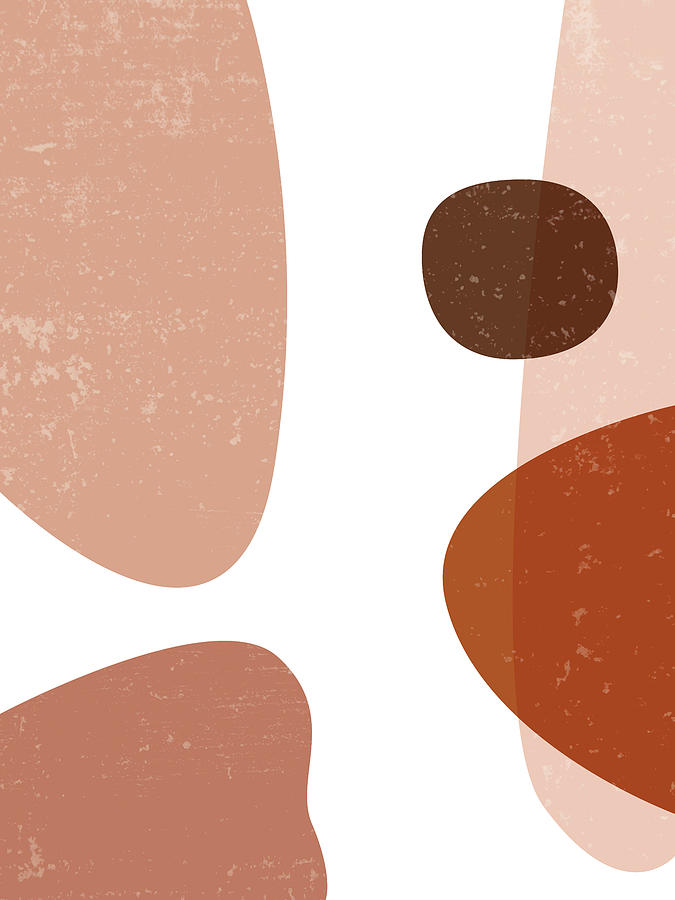 Terracotta Abstract 34 - Modern, Contemporary Art - Abstract Organic Shapes - Brown, Burnt Sienna Mixed Media