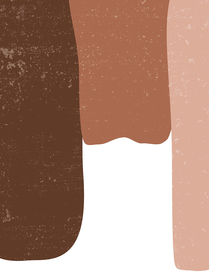 Terracotta Abstract 49 - Modern, Contemporary Art - Abstract Organic Shapes - Brown, Burnt Sienna Mixed Media