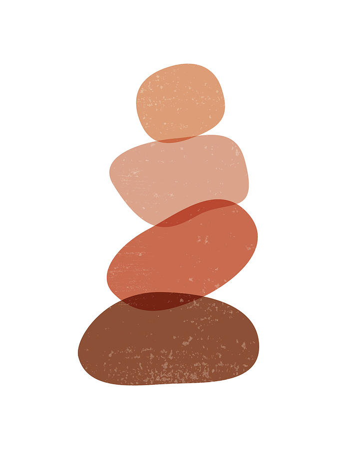 Terracotta Mixed Media - Terracotta Abstract 60 - Modern, Contemporary Art - Abstract Organic Shapes - Zen Pebbles - Brown by Studio Grafiikka