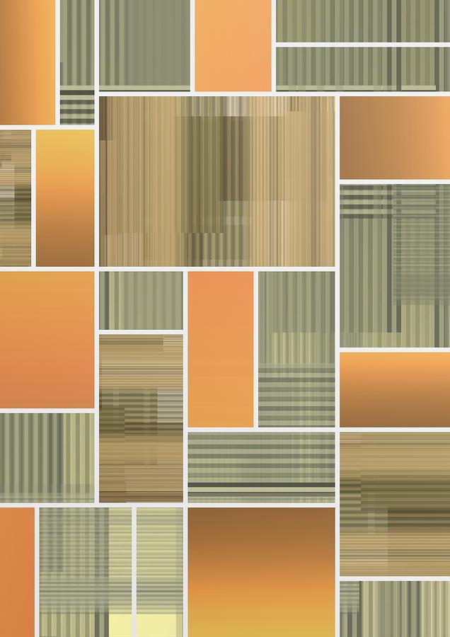 Terracotta Boho Geometric Composition Digital Art