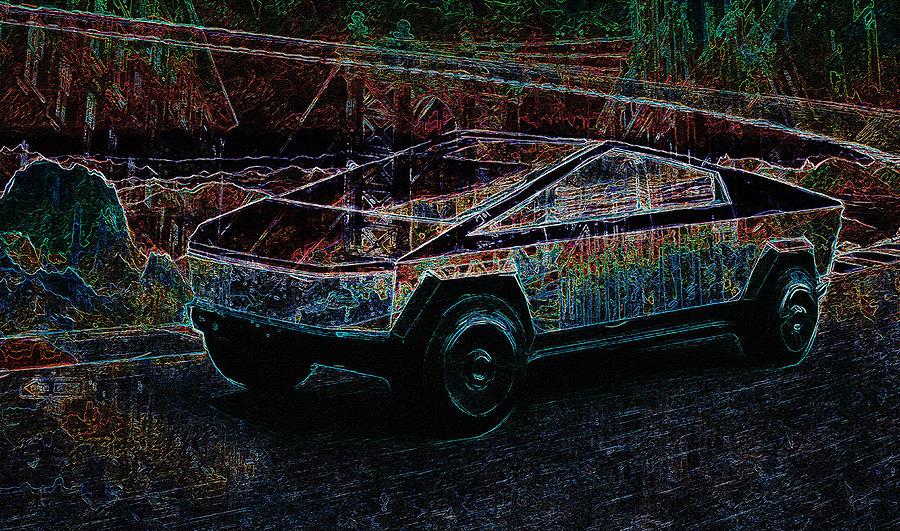 Tesla Cybertruck Abstract Art by Alex Mir