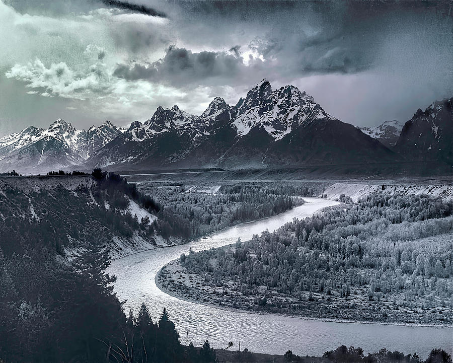 Ansel Adams Digital Art - Tetons And The Snake River by Ansel Adams