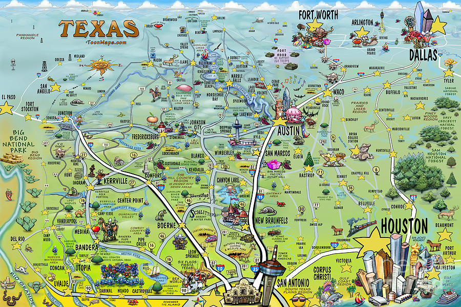 Texas Big Fun Map Digital Art