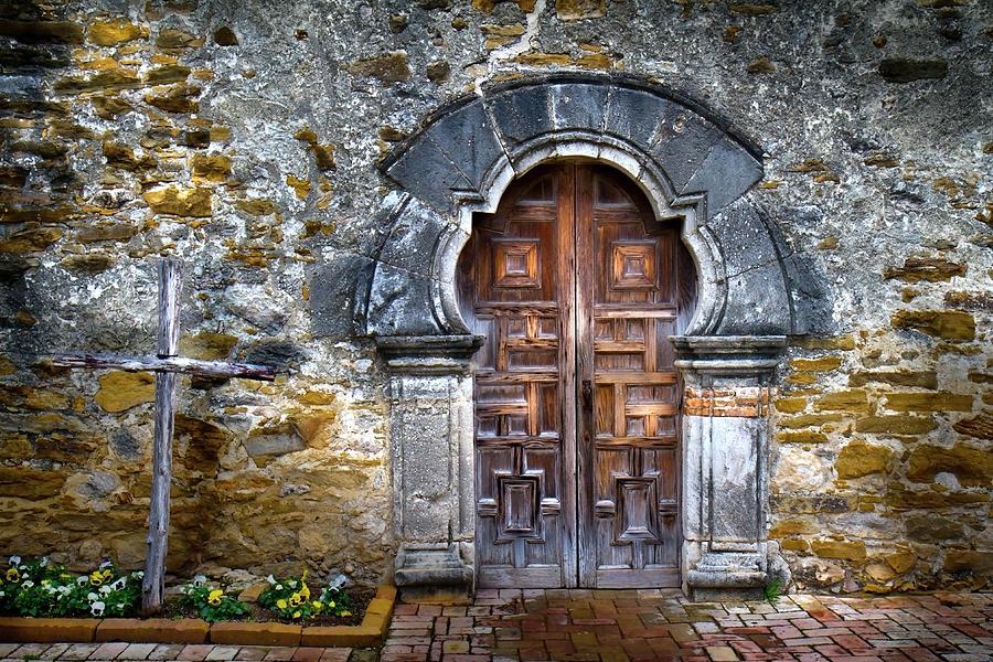 Texas Photograph - Texas Espada Door by Harriet Feagin