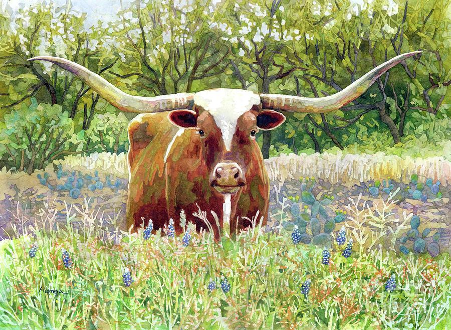 Texas Longhorn-pastel Colors Painting