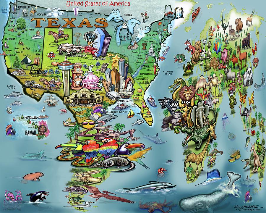 Texas World Map Digital Art