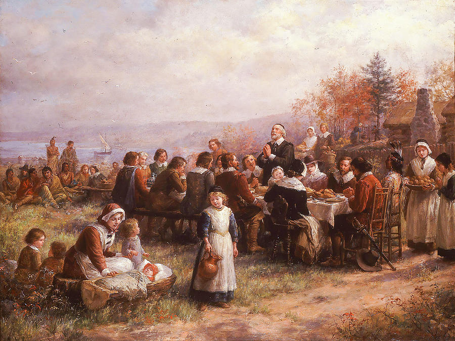 Thanksgiving At Plymouth Painting