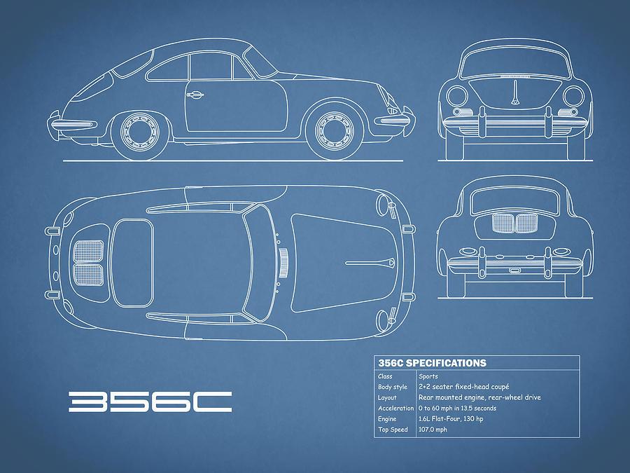 Porsche Photograph - The 356 C Blueprint by Mark Rogan