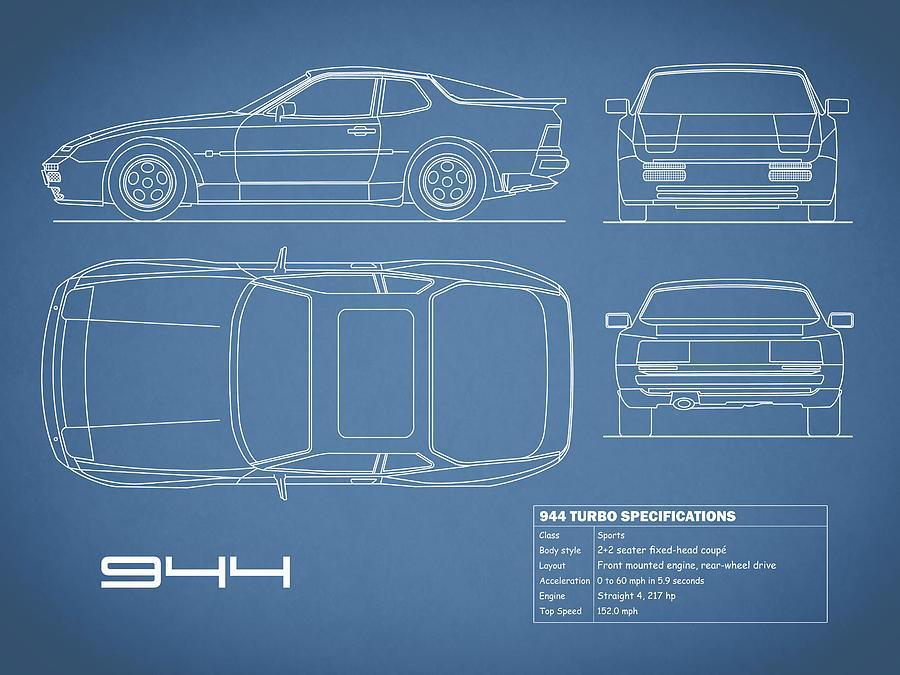 Porsche Photograph - The 944 Blueprint by Mark Rogan