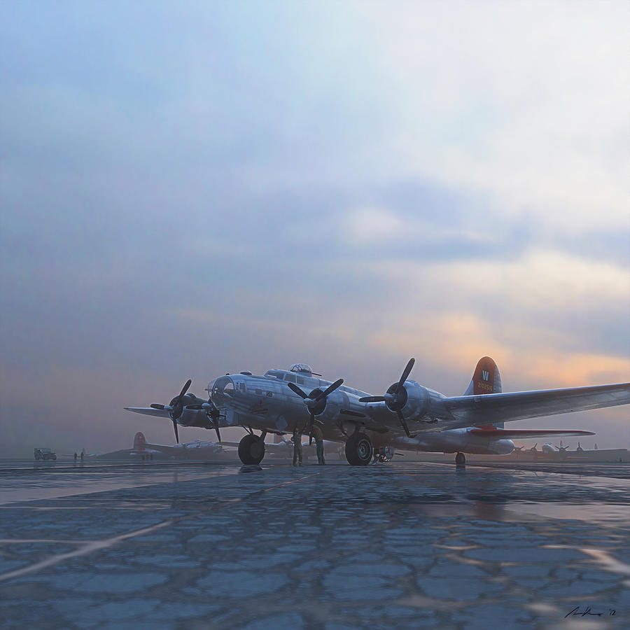 B-17 Painting - The Aluminum Overcast by Hangar B Productions