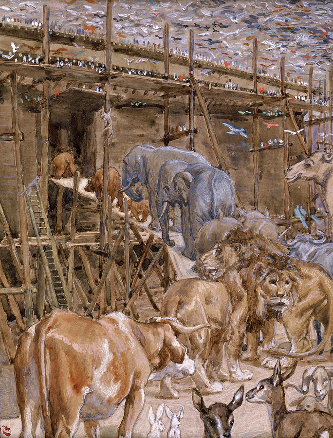 James Tissot Painting - The Animals Enter The Ark, 1902 by James Tissot
