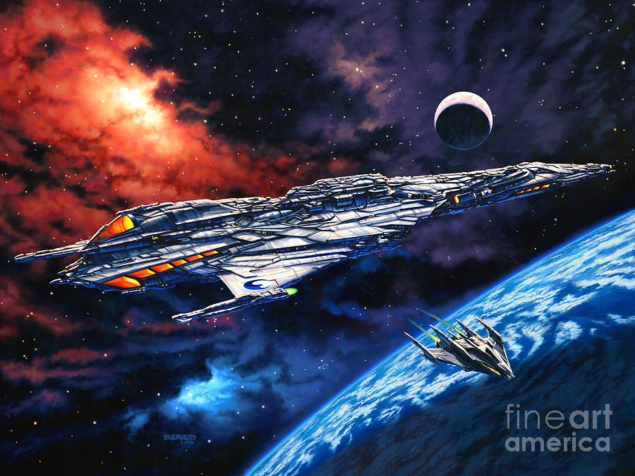 Space Ship Painting - The Anprall by Stu Shepherd