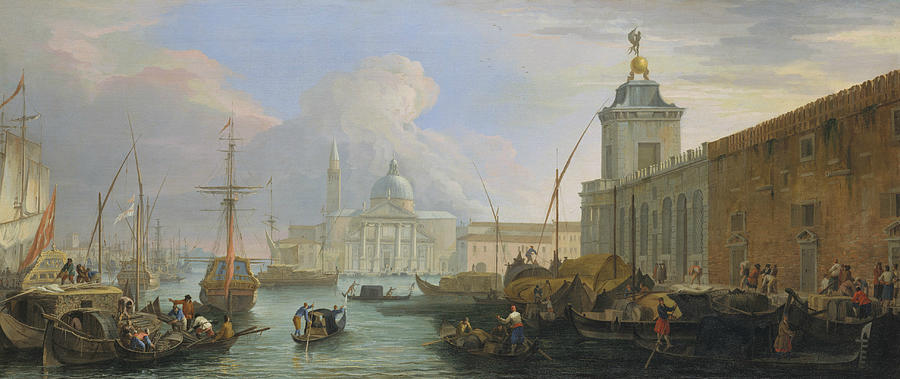 The Bacino, Venice, with the Dogana and a Distant View  by Luca Carlevaris