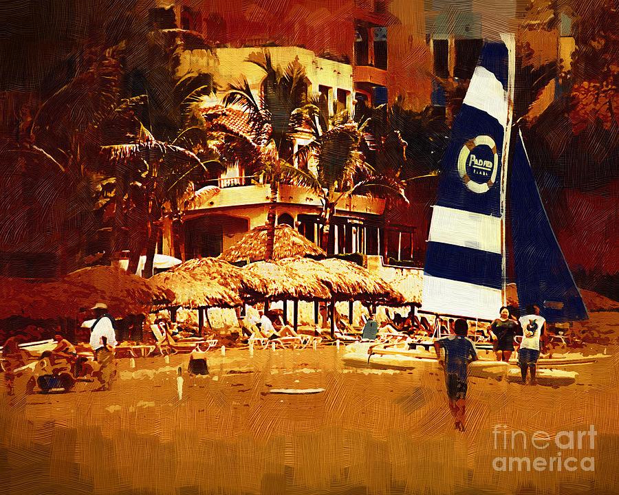 Resort Digital Art - The Beach Crowd by Kirt Tisdale