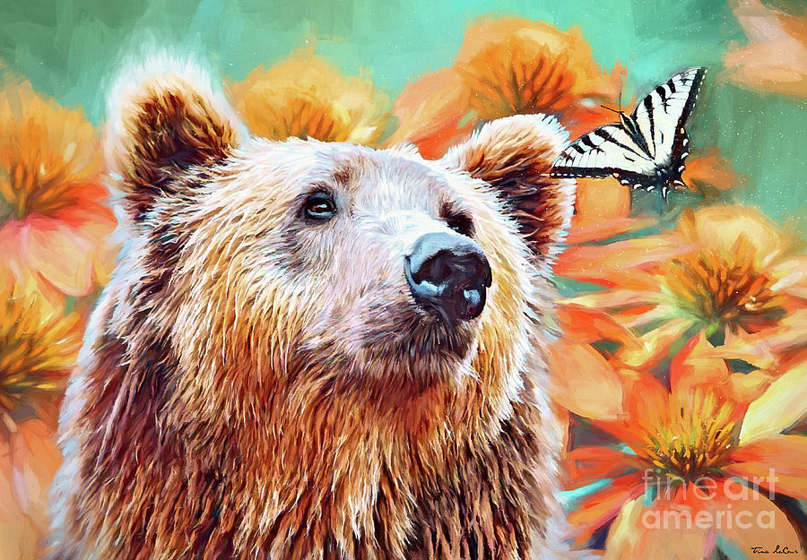 The Bear And The Butterfly Mixed Media