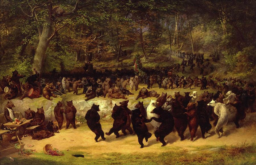 William Holbrook Beard Painting - The Bear Dance, 1870 by William Holbrook Beard