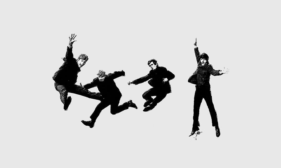 The Beatles Painting - The Beatles Jump by Tony Rubino