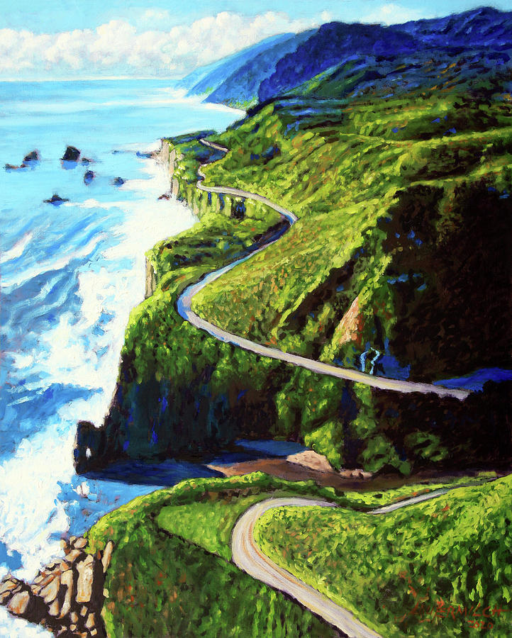 Ocean Painting - The Beauty Along HWY 1 by John Lautermilch