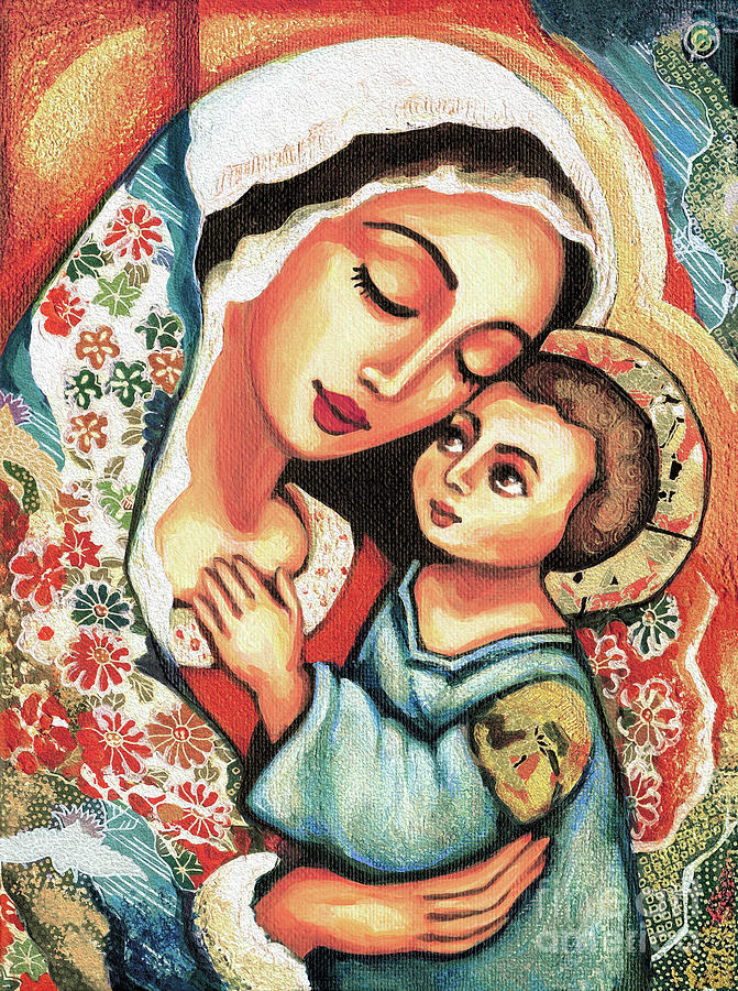Mother And Child Painting - The Blessed Mother by Eva Campbell