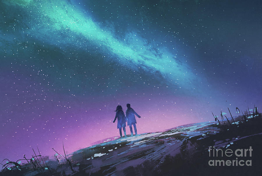 The Blue Light In The Night Sky Painting