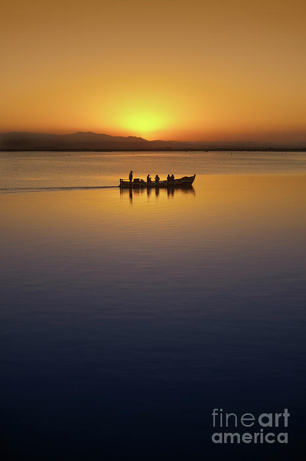 Blue Photograph - The Boat At Sunset by Vicente Sargues