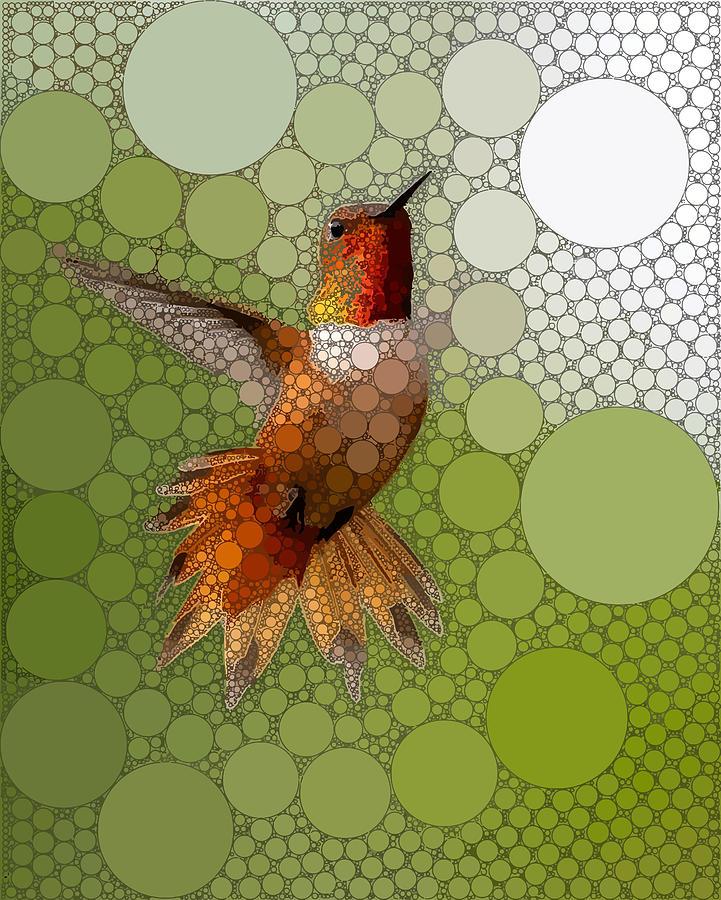 Green Digital Art - The Bold Hummingbird by Dahl Winters