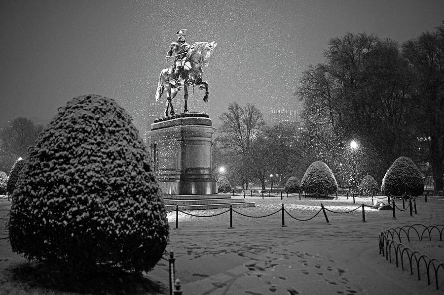 The Boston Public Garden Covered in Snow Boston MA Black and White by Toby McGuire