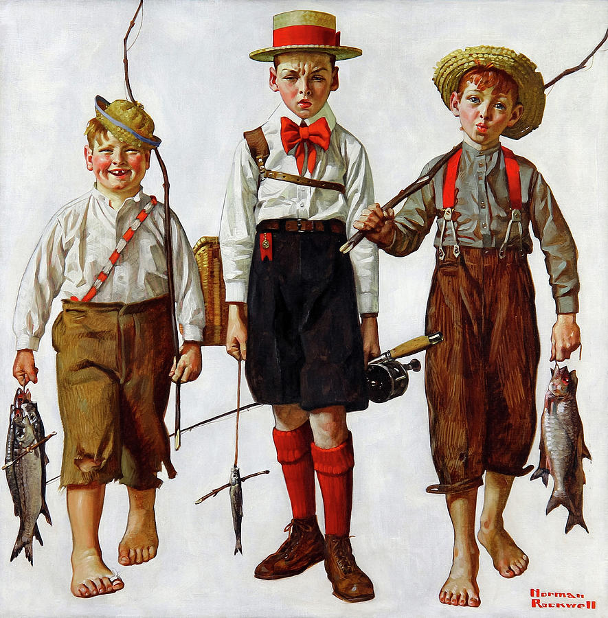 Norman Rockwell Painting - The Catch, 1919 by Norman Rockwell