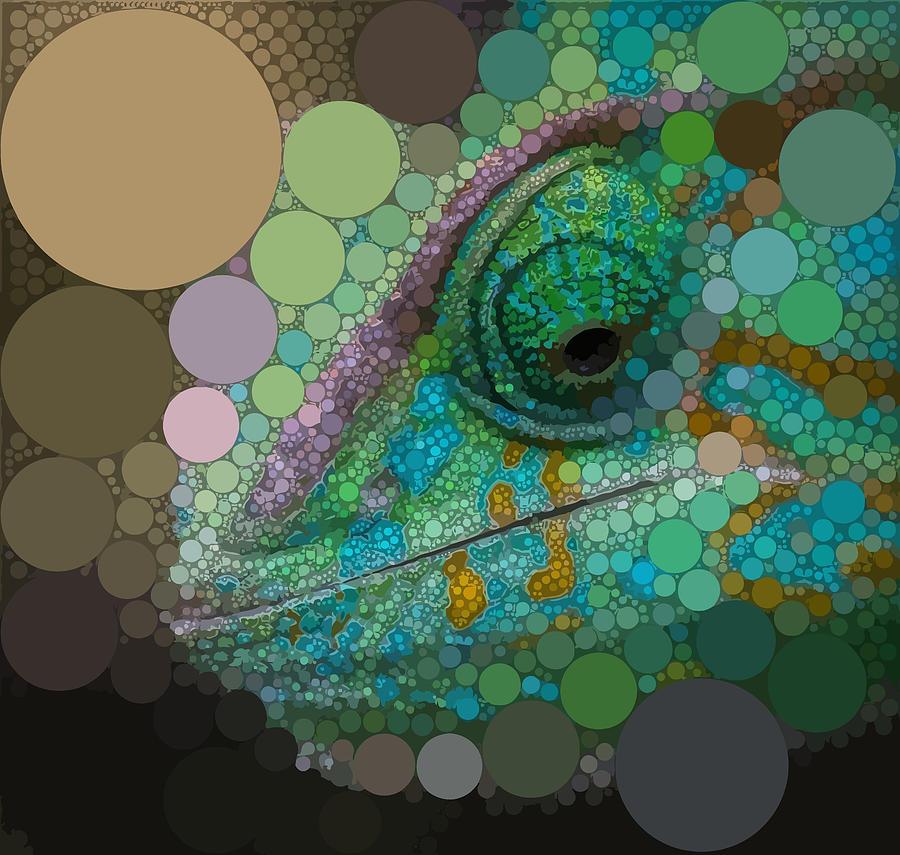 Green Digital Art - The Chameleon by Dahl Winters