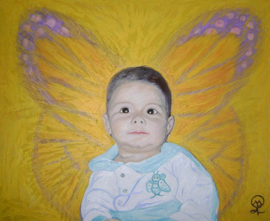 The Butterfly Cherub Painting by Therese Legere