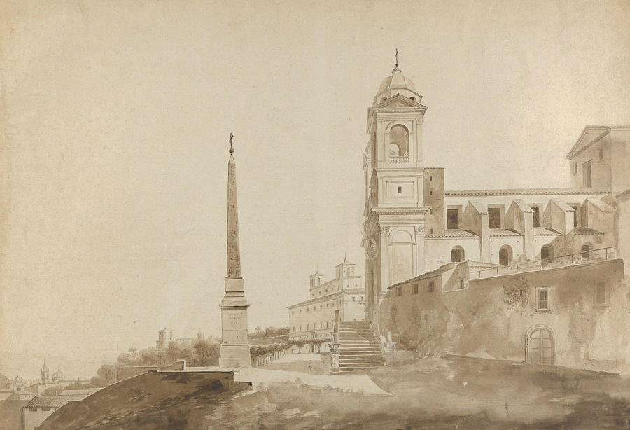French Painters Drawing - The Church Of The Trinita Dei Monti And The Villa Medici, Rome by Francois Marius Granet