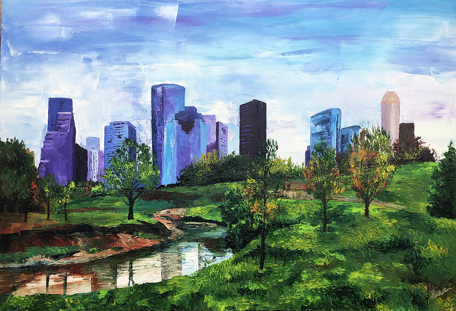 Buffalo Bayou Painting - The Citys Oasis by Lauren Luna