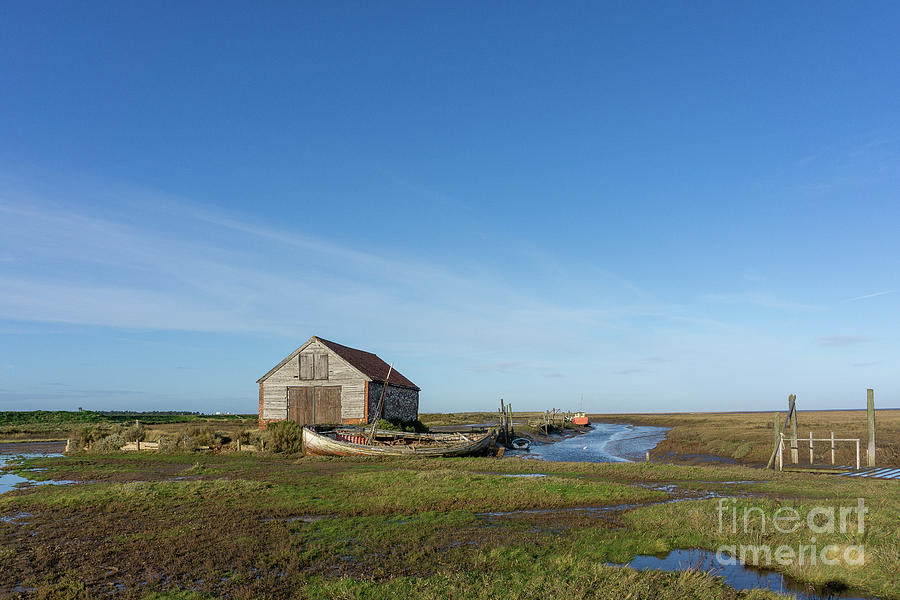 The Coal Barn And Boat At Thornham Staithe Photograph