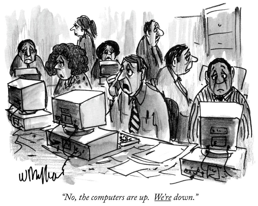 The Computers Are Up Drawing by Warren Miller