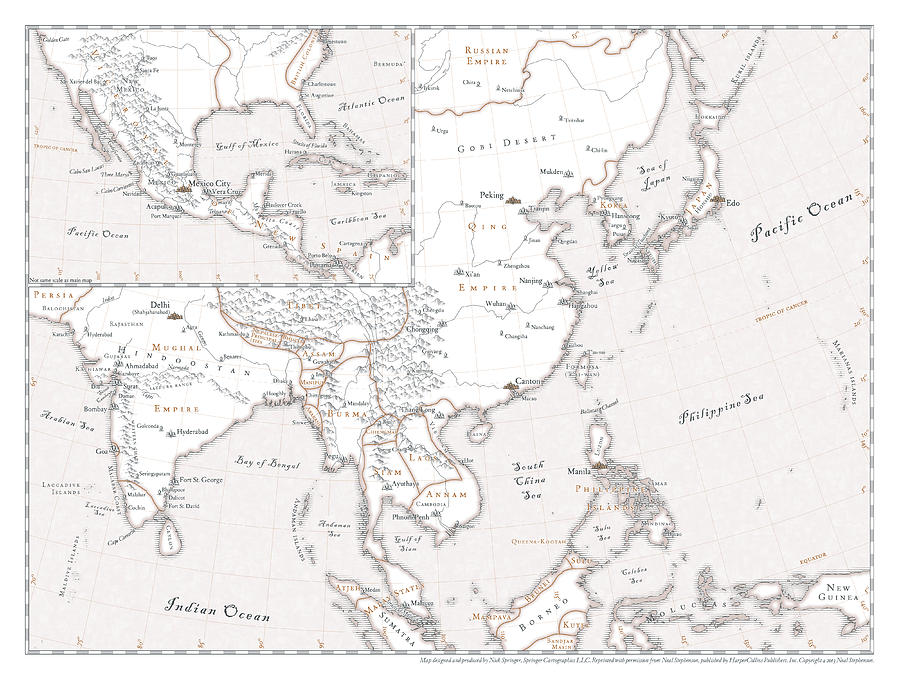 Map Digital Art - The Confusion - Asia, Americas Map by Nick Springer