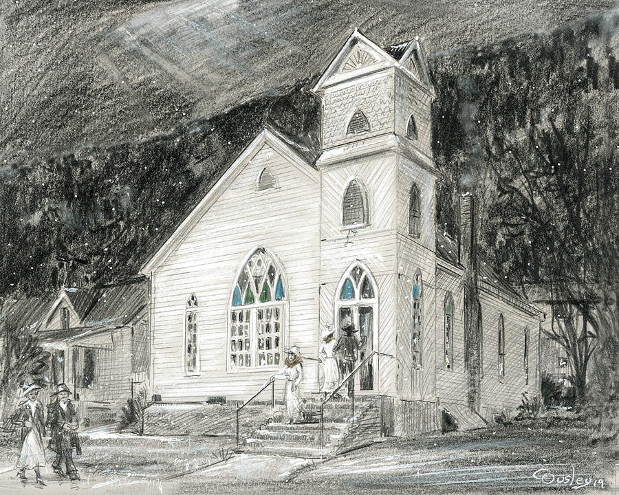 Winter Walk Drawing - The Cumberland Gap Methodist Church  by Chris Ousley