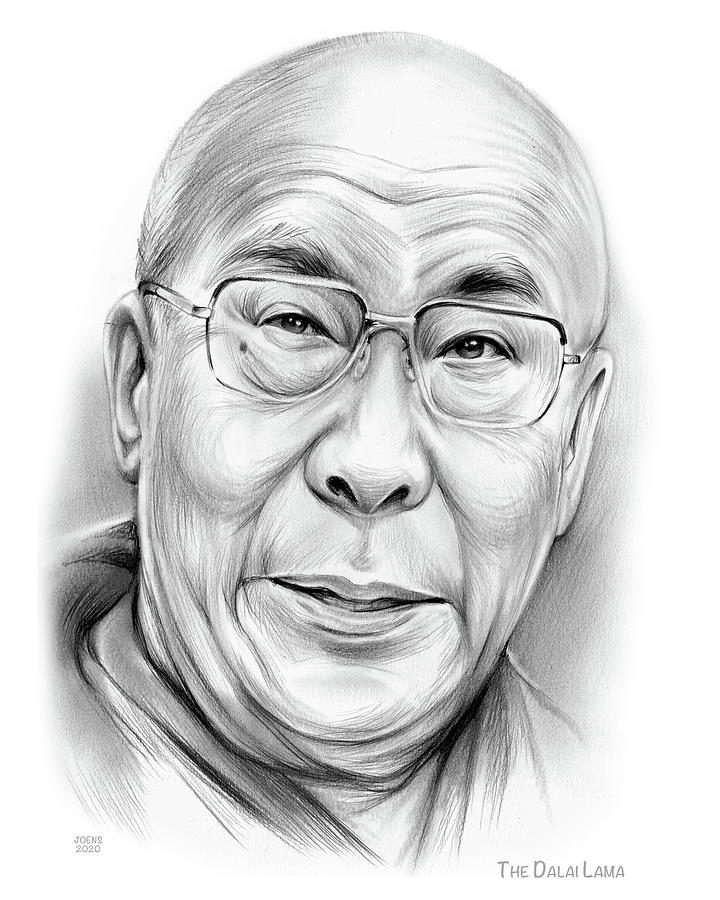 Peace Drawing - The Dalai Lama by Greg Joens
