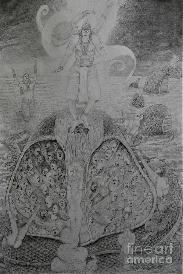 The Demon Serpent Kaliya Surrenders To Lord Krishna by Balkishan Jhumat