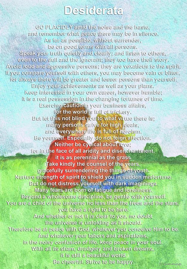 Poetry Painting - The Desiderata - Childhood Art - Sharon Cummings by Sharon Cummings