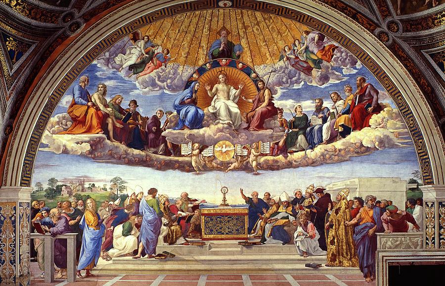 Raffaello Sanzio Painting - The Disputation of the Holy Sacrament by Raphael