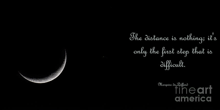 The Distance Is Nothing - Sliver Moon Photograph