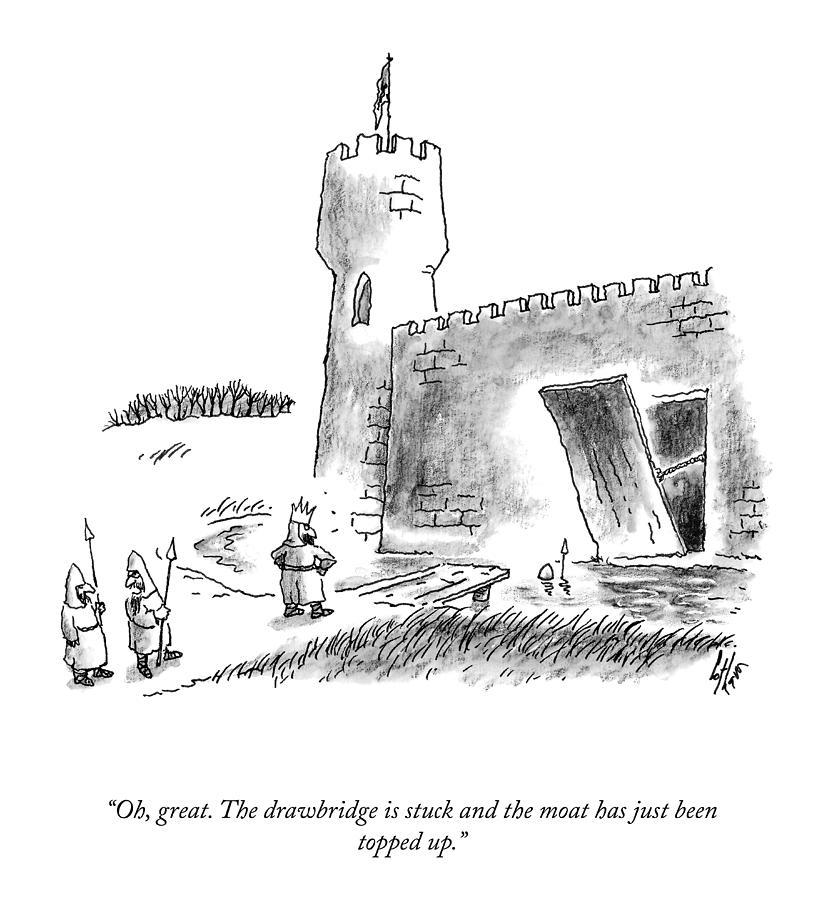 The Drawbridge Is Stuck Drawing by Frank Cotham
