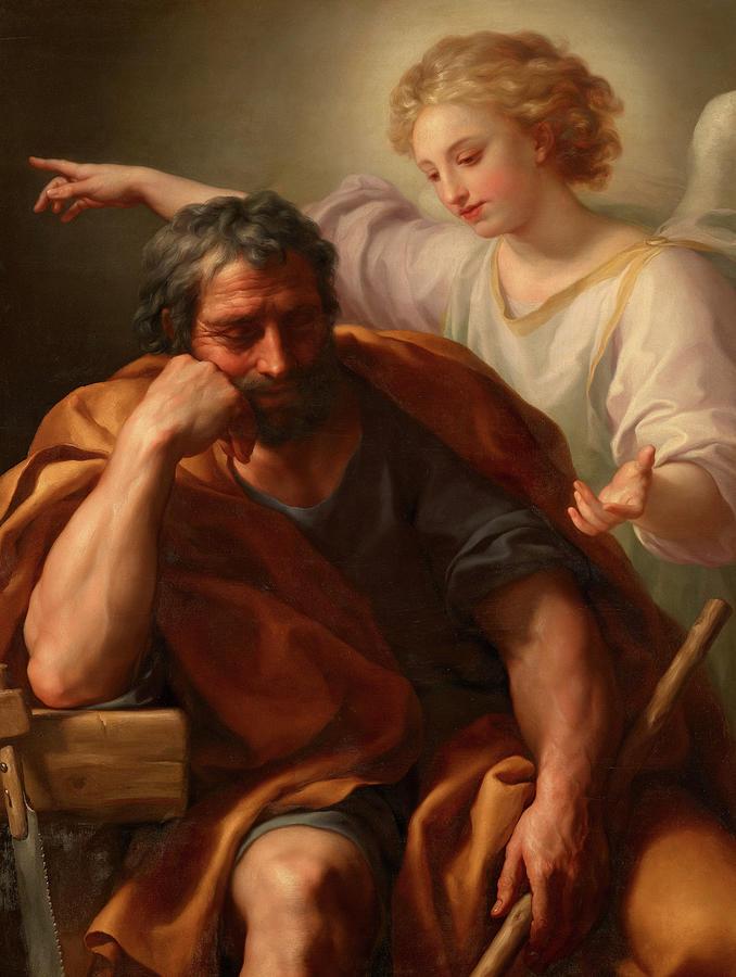 Anton Raphael Mengs Painting - The Dream of Saint Joseph, 1773-1774 by Anton Raphael Mengs