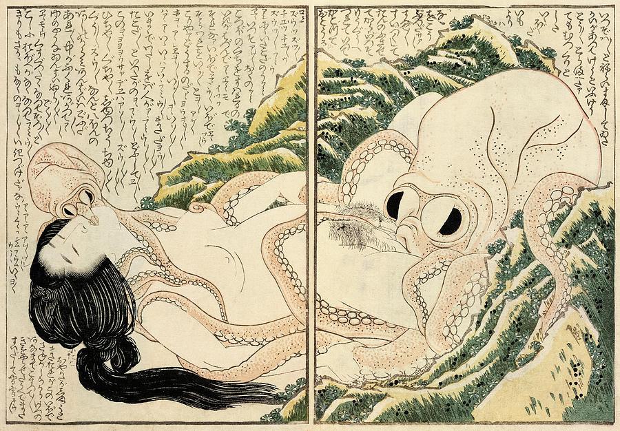 Katsushika Hokusai Painting - The Dream of the Fishermans Wife, 1814 by Katsushika Hokusai