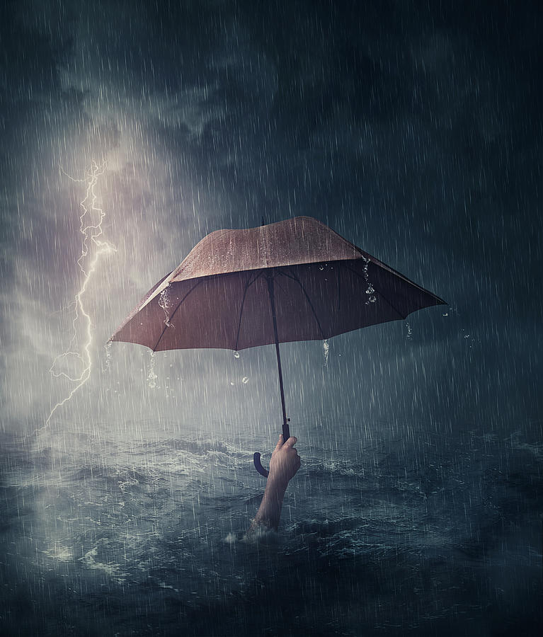 The Drowning Man Is Not Troubled By Rain Photograph