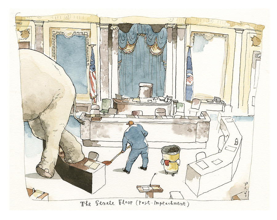 The Elephant in the Room Painting by Barry Blitt