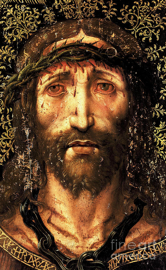 Ecce Homo Painting - The face of Christ or the suffering Christ by Joan Gasco